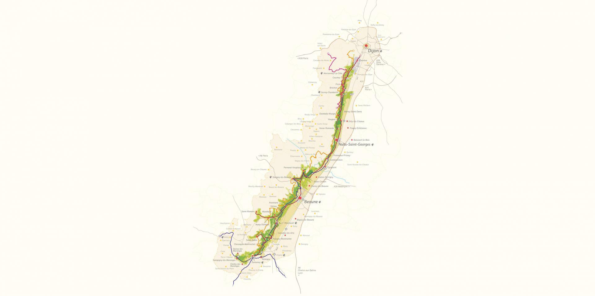 Carte des Climats - Route des Grands Crus (tracé en rouge)